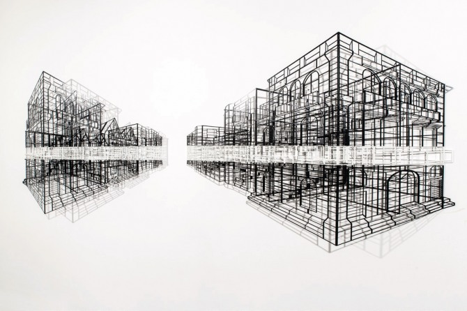 김병주 작 Urbanscape, 390x120x20cm, steel, powder coating, 2014