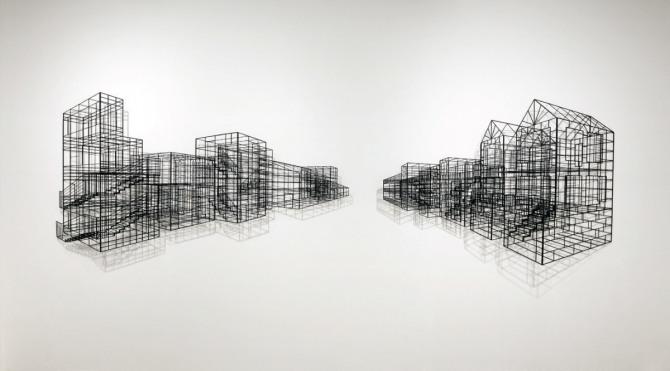 김병주 작 Urbanscape, 390x110x14cm, steel, powder coated, 2011
