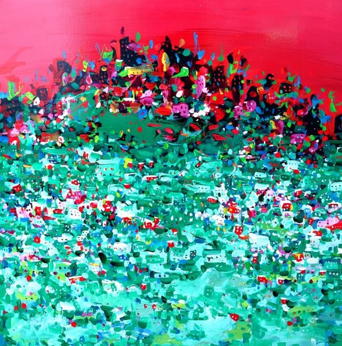 박건우 작 꿈꾸는 도시, 70x70cm, 혼합재료, 2015