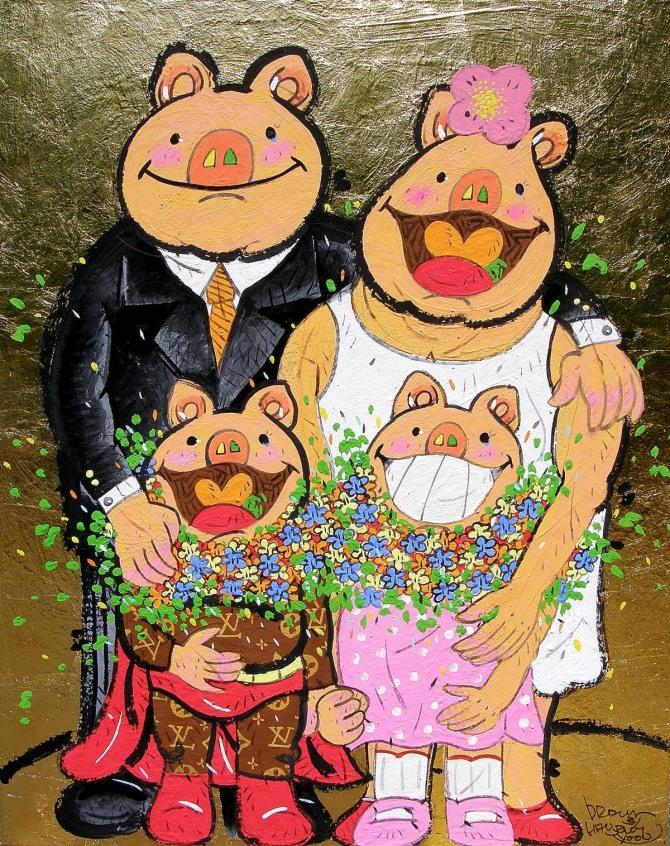 한상윤 작 '사랑합니다 우리가족', 광목에 채색, 금박