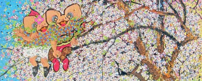 한상윤 작 '봄바람에 마음도 살랑살랑', 182.5x73cm, 장지에 분채, 석채, 2013