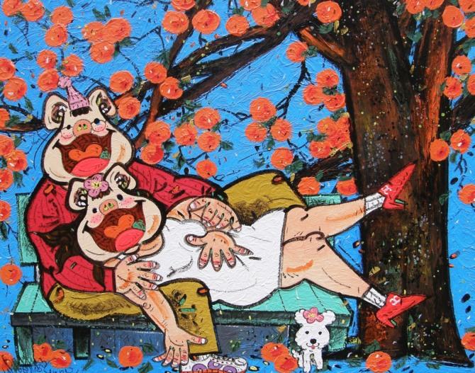 한상윤 작 '가을이다 사랑도 익어가네', Acrylic on Canvas, 100x80.6cm, 2015