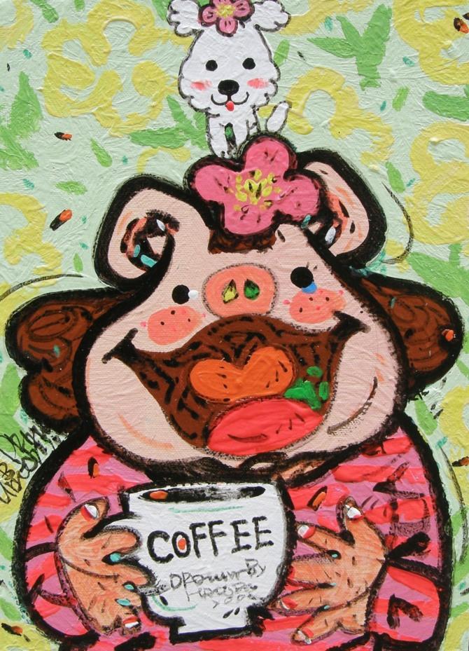 한상윤 작 '커피 한 잔의 여유', 광목에 혼합재료, 53x45.5cm