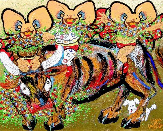 한상윤 작 '소처럼 일한 자는 웃는다', 장지에 분채, 석채, 금박, 140x100cm, 2013