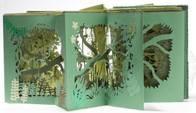 강진숙 작 마음 속의 정글, 리놀륨 판화, 석판화, 종이, 보드, 26.5x17cm, 2006