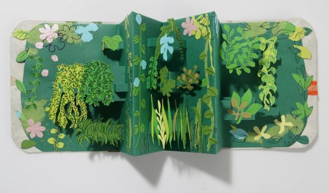 강진숙 작 마음 속의 정글, 팝업북, 종이, 펜, 17x14cm, 2007