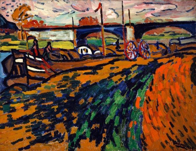 블라맹크 작 샤뚜의 바지선(Barges in Chatou), 1905