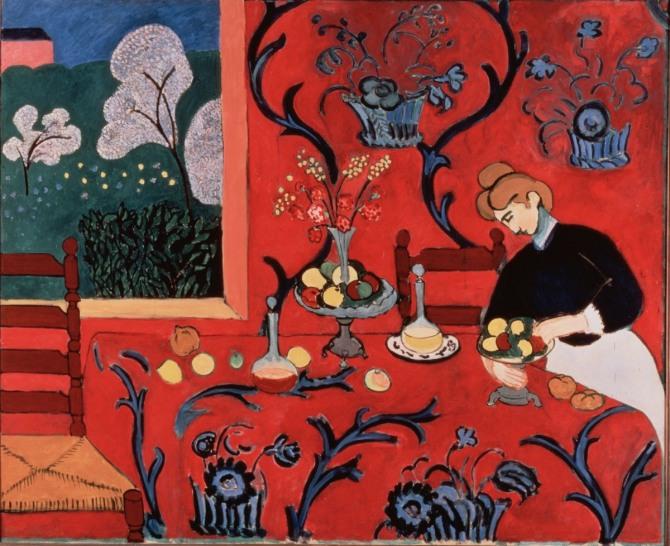 마티스 작 후식: 레드의 조화(붉은 방)(The dessert: harmony in red (The red room)), 1908