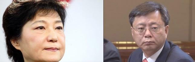 박근혜 대통령(왼쪽)과 우병우 전 수석