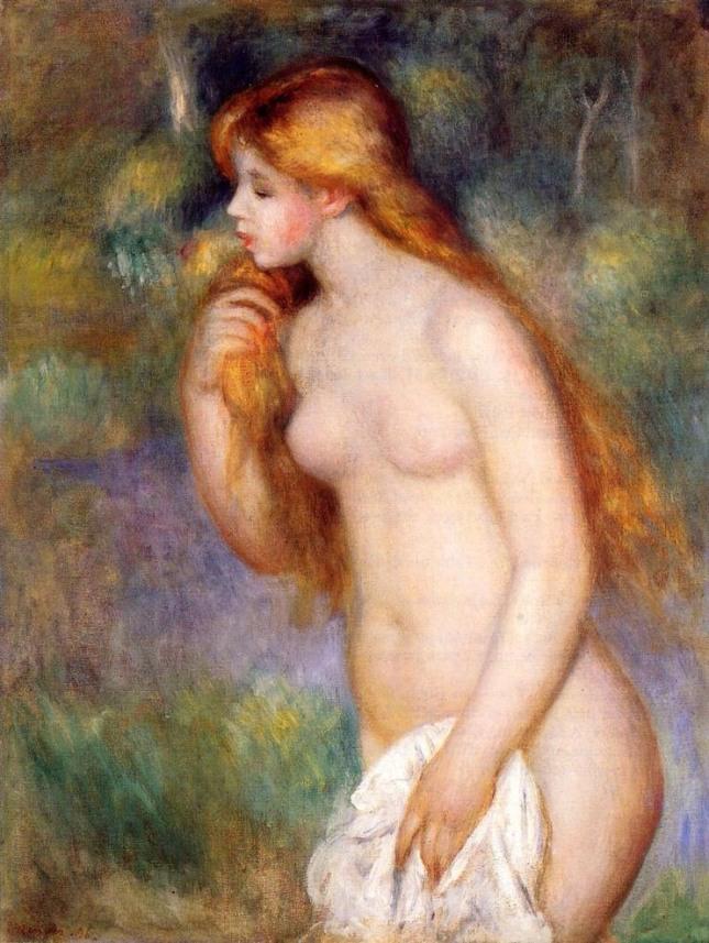 르느와르 작 '서있는 욕녀(浴女)', 1896, Oil on canvas, 81 x 61 cm, Private collection. 그림처럼 목이 긴 사람은 에너지가 넘치고 비만이 오지 않는다.